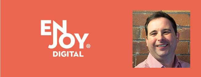 Enjoy Digital's logo plus Ian Fiddler, their Head of Business Operations