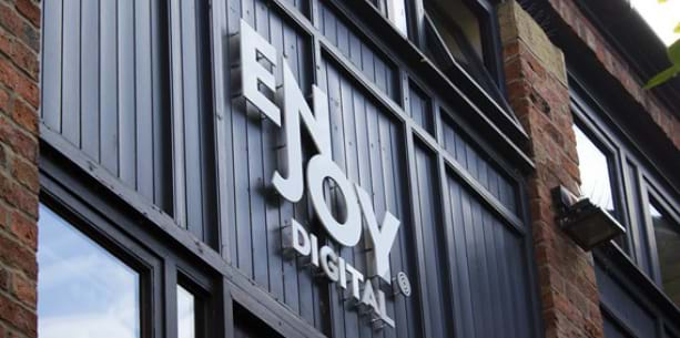 Enjoy Digital's logo on their building