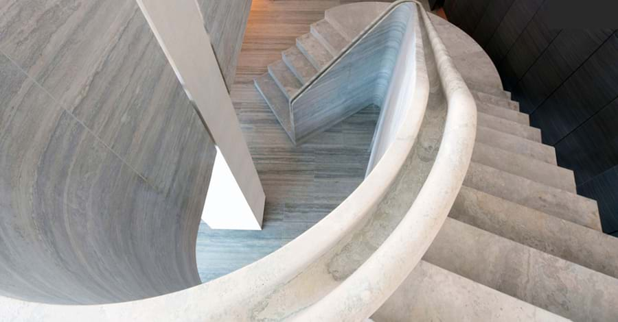 Stone staircase designed by Webb Yates Engineers