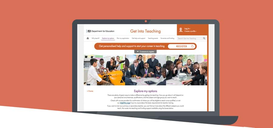 Client work by Redweb for Department for Education