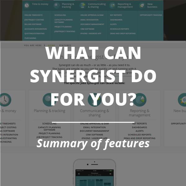 What can Synergist do for you? Summary of features.